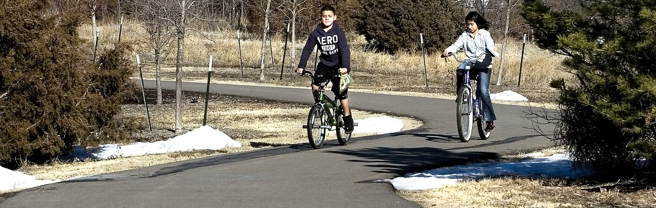 Children enjoy scenic walking/biking paths in Garden City